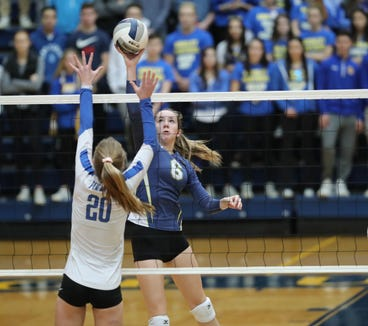 Ardsley's Megan Bruno (6) puts a shot over Pearl River's Camryn McGee (20) during their 3-0 win over Pearl River in the girls class B volleyball section title at Pace University in Pleasantville on Sunday, November 4, 2018.