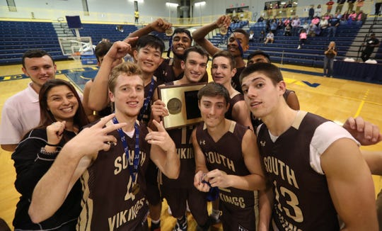 Clarkstown South defeats Suffern 3-2 to claim the boys Section 1 volleyball title at Pace University in Pleasantville on Sunday, November 4, 2018.