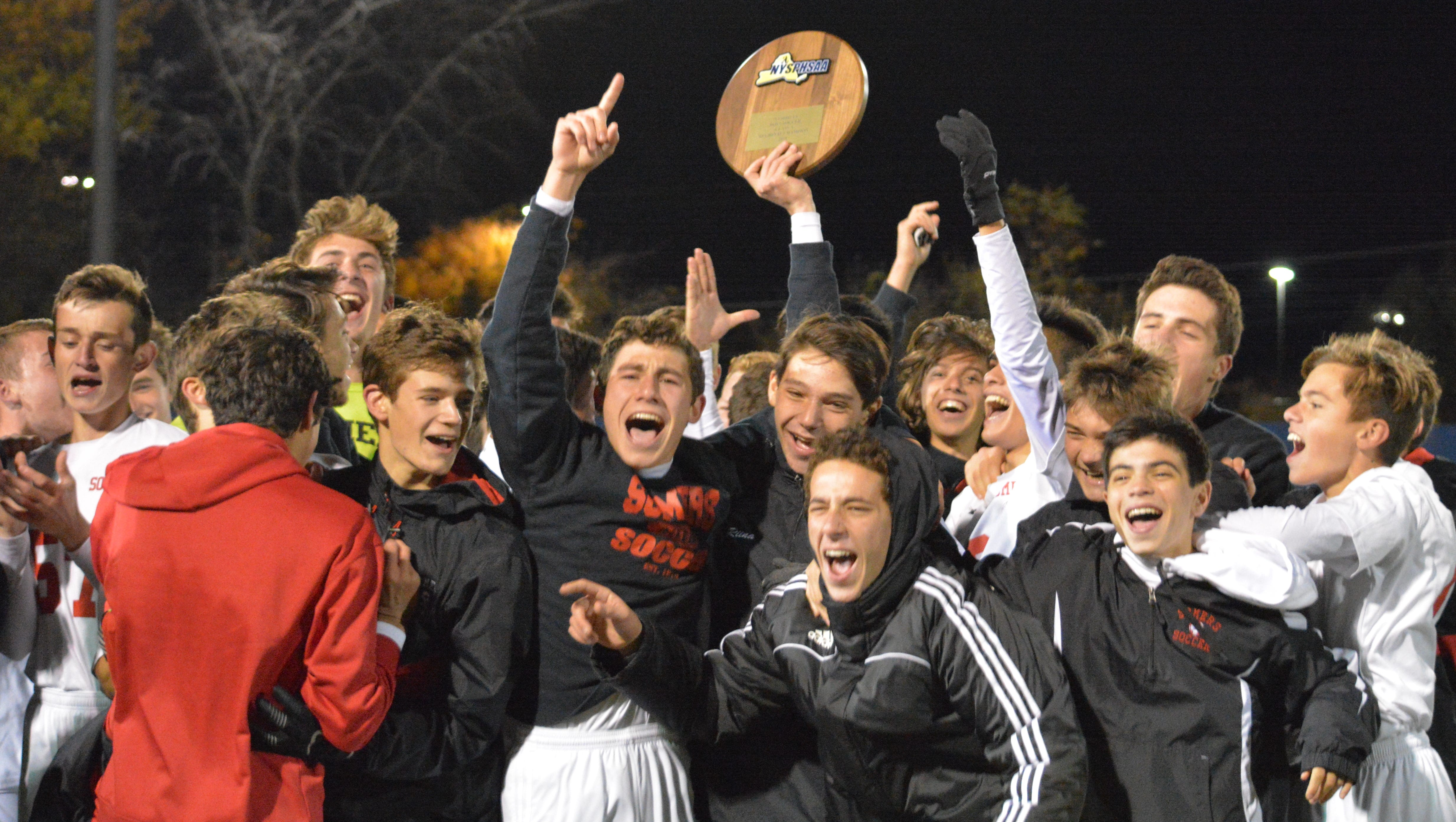 Somers celebrates after winning its second NYSPHSAA Class A regional title in three seasons with a 5-0 win over Cornwall on Saturday, Nov. 3, 2018 at Middletown High School.