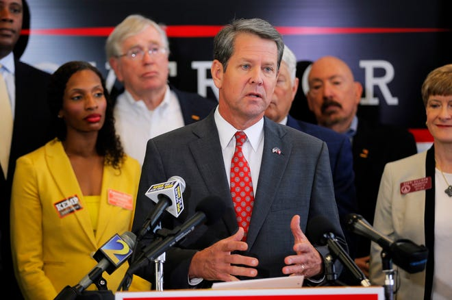 Georgia Secretary of State and GOP gubernatorial candidate Brian Kemp speaks a press conference in Atlanta on Aug. 29, 2018.