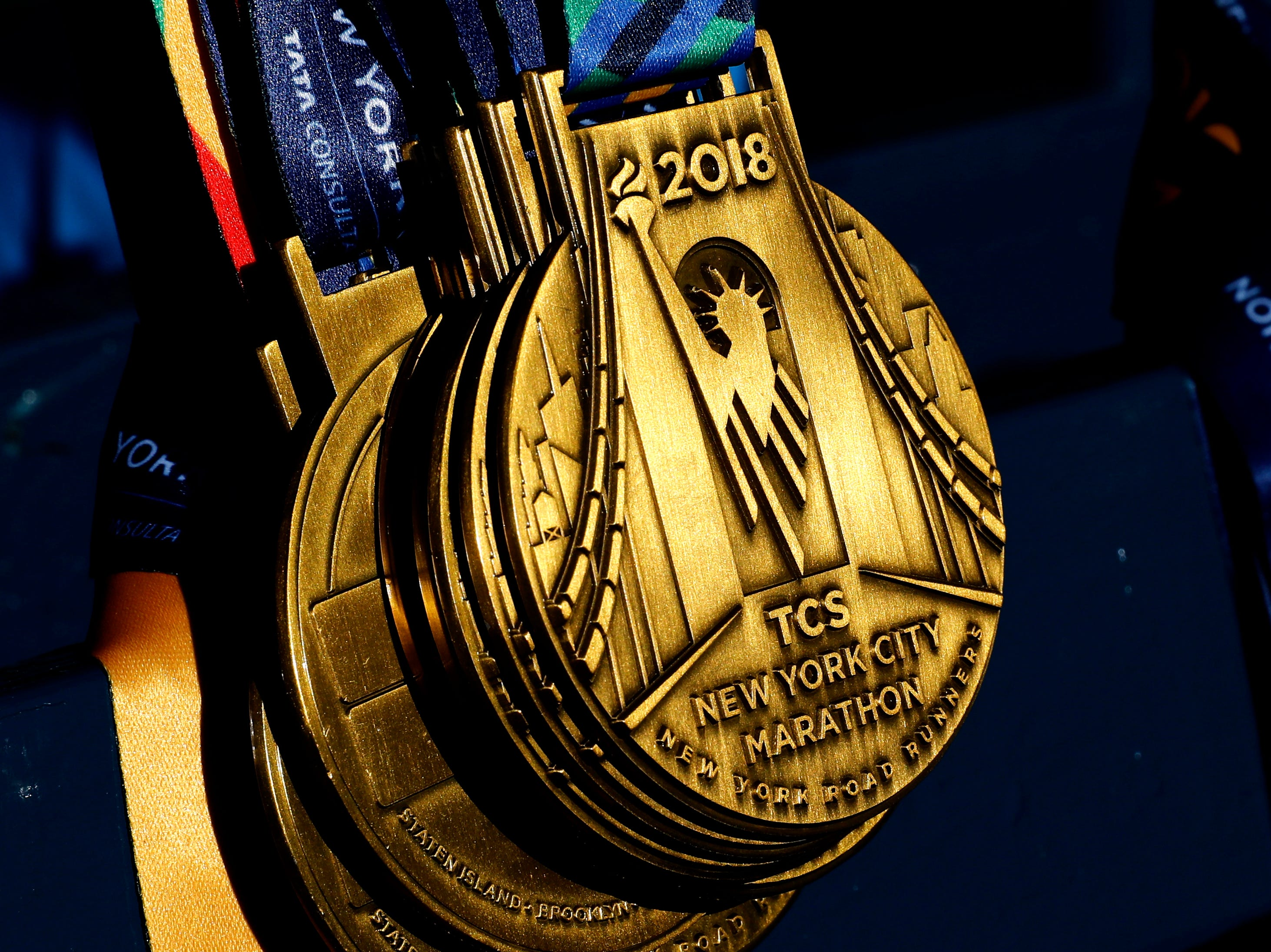 All runners finishing the TCS New York City Marathon will receive a participation medal being displayed before the start of the race in Central Park in New York.