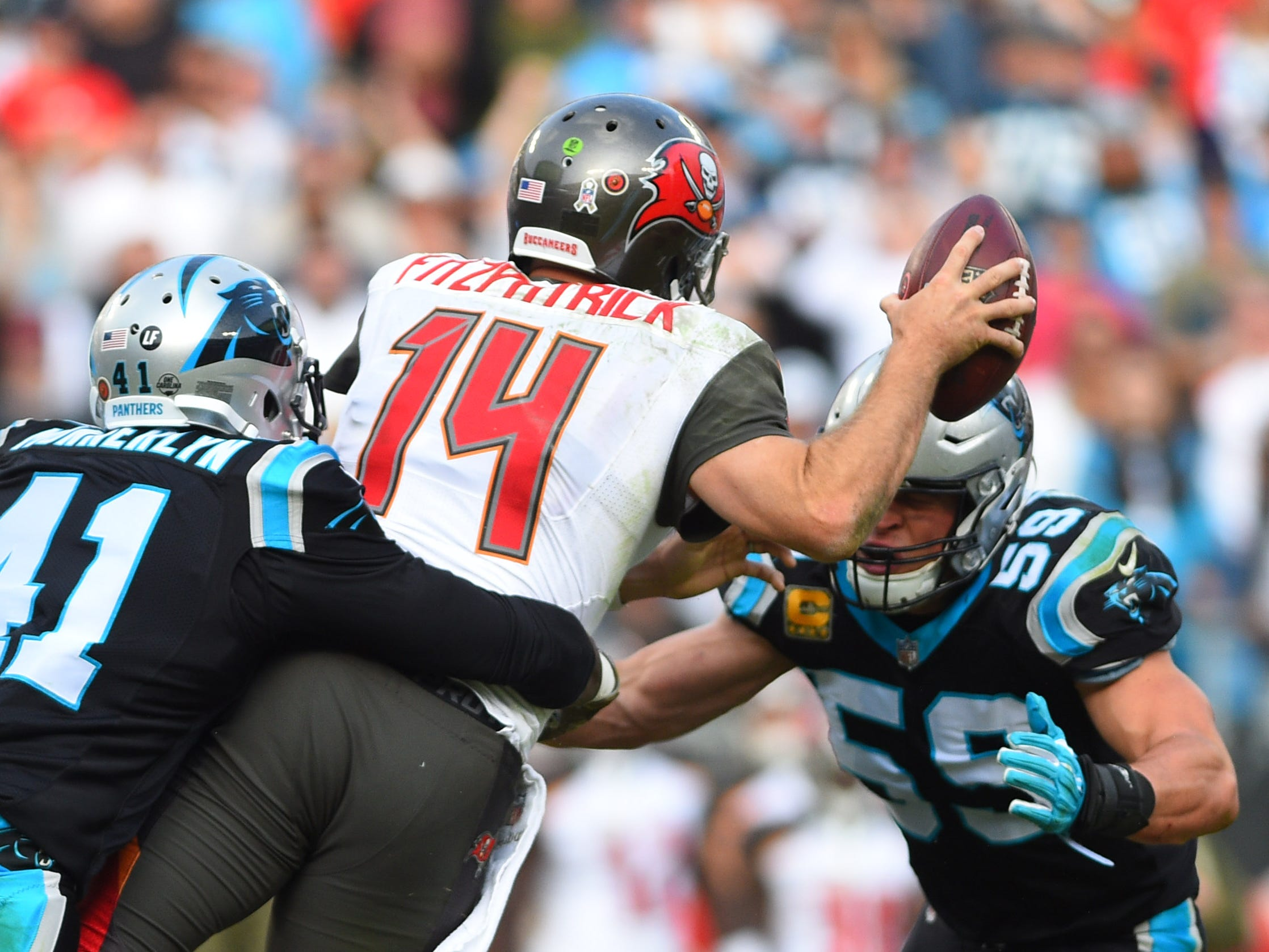 Carolina Panthers defensive back Captain Munnerlyn (41) and middle linebacker Luke Kuechly (59) close in on Tampa Bay Buccaneers quarterback Ryan Fitzpatrick (14) in the fourth quarter at Bank of America Stadium.