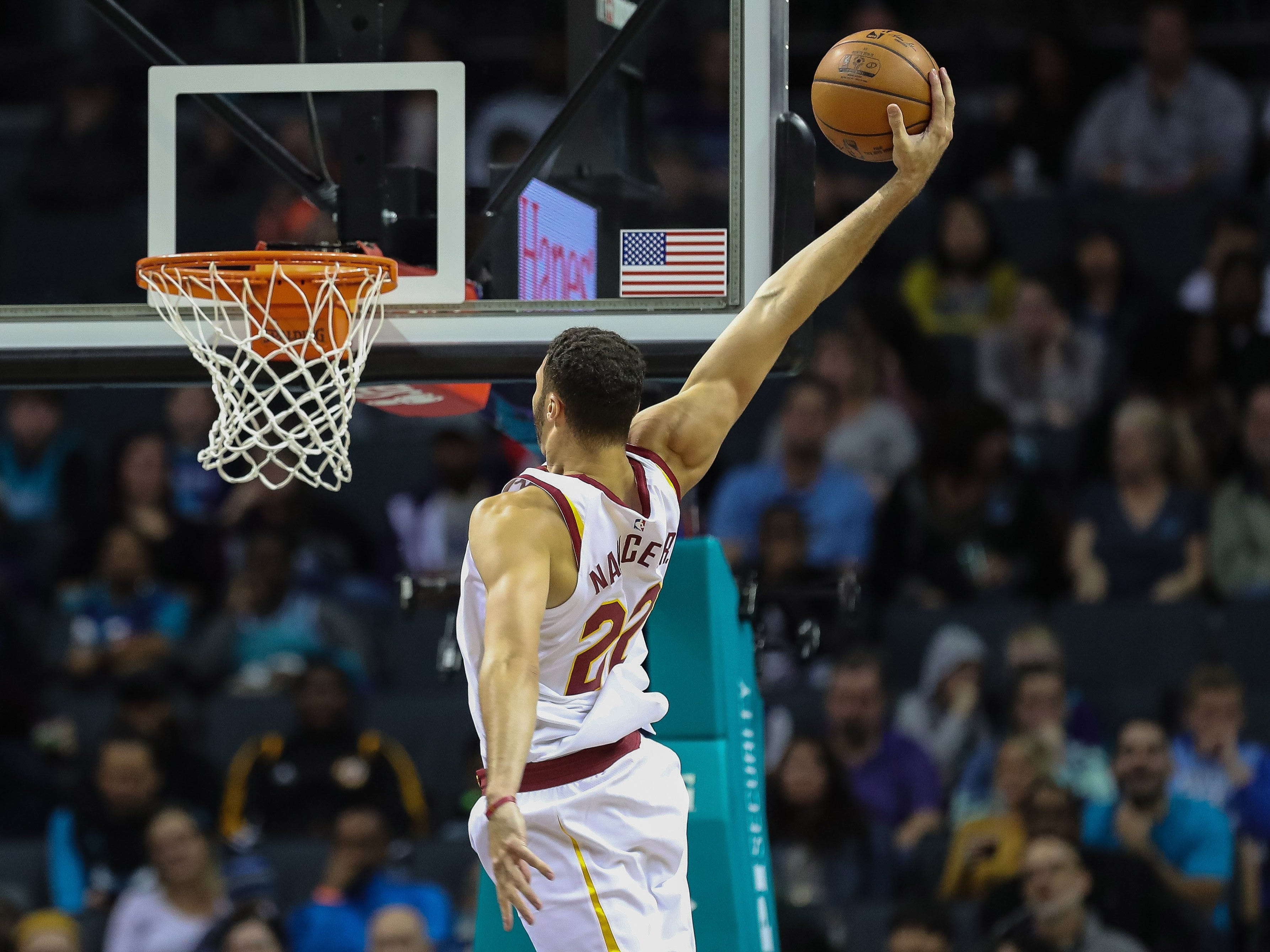 Nov. 3: Cavaliers forward Larry Nance Jr. soars to the hoop for a one-handed slam against the Hornets in Charlotte.