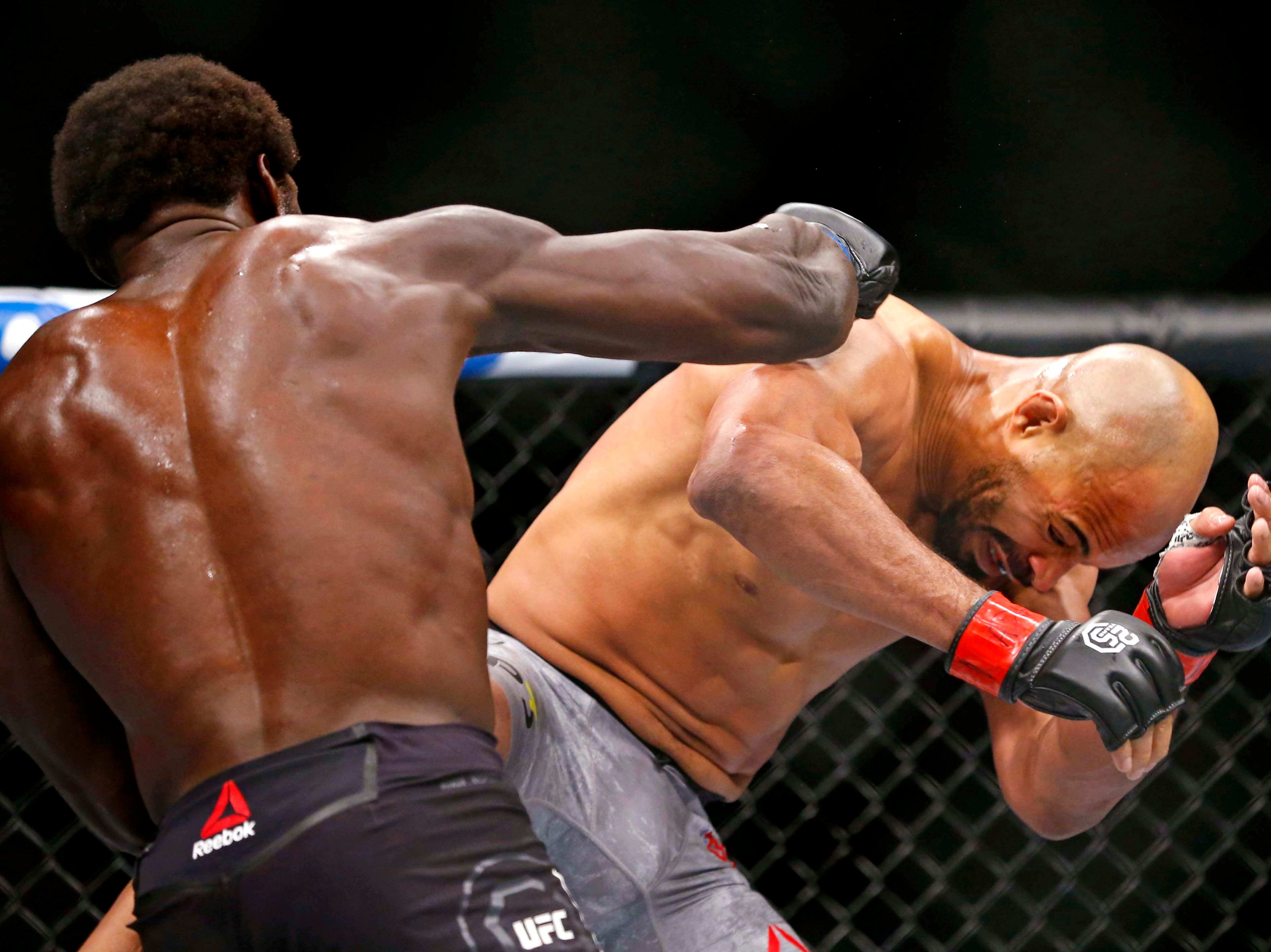 David Branch (red gloves) fights Jared Cannonier (blue gloves) during UFC 230 at Madison Square Garden.