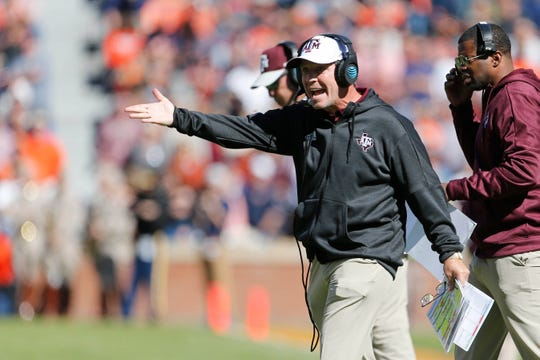 Texas A&M head coach Jimbo during the second quarter of the Aggies' loss Saturday to Auburn at Jordan-Hare Stadium.