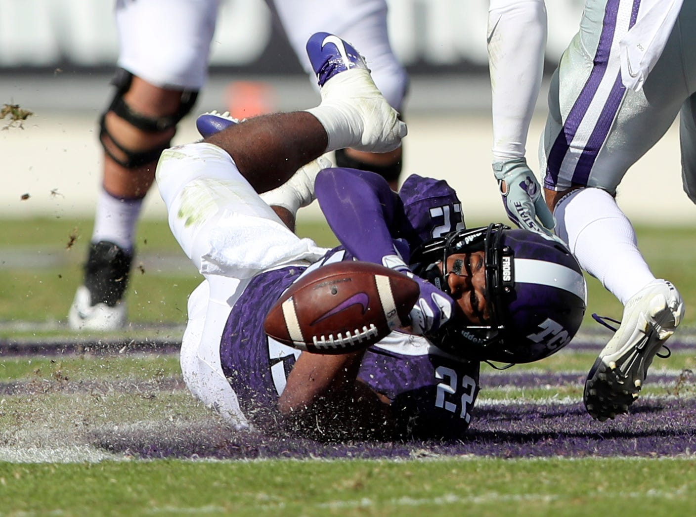 TCU Horned Frogs wide receiver Jarrison Stewart (22) dives but cannot make a catch during the first half against the Kansas State Wildcats at Amon G. Carter Stadium.