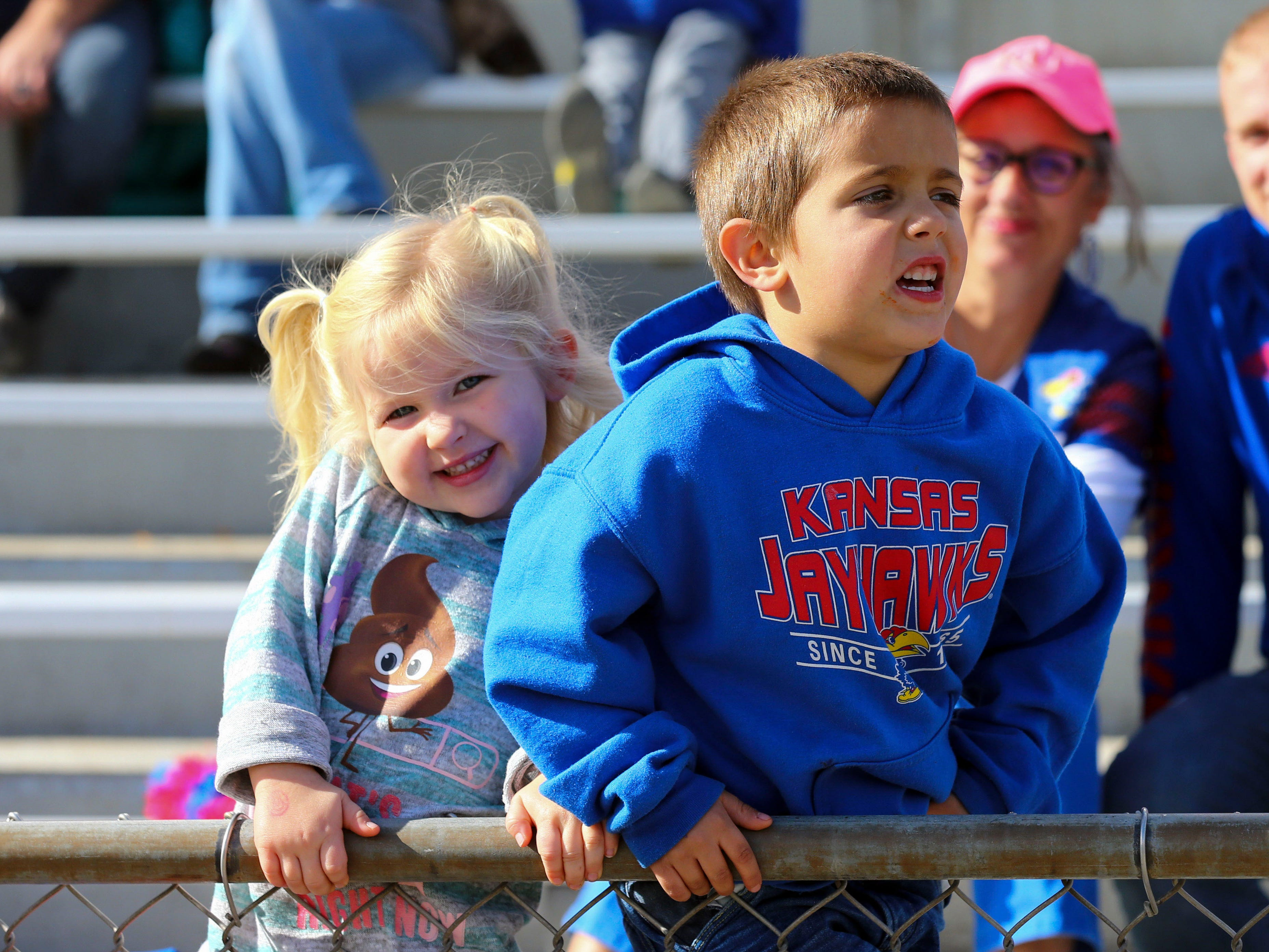 Week 10: Kansas Jayhawks fans watch during the second half against the Iowa State Cyclones at Memorial Stadium.