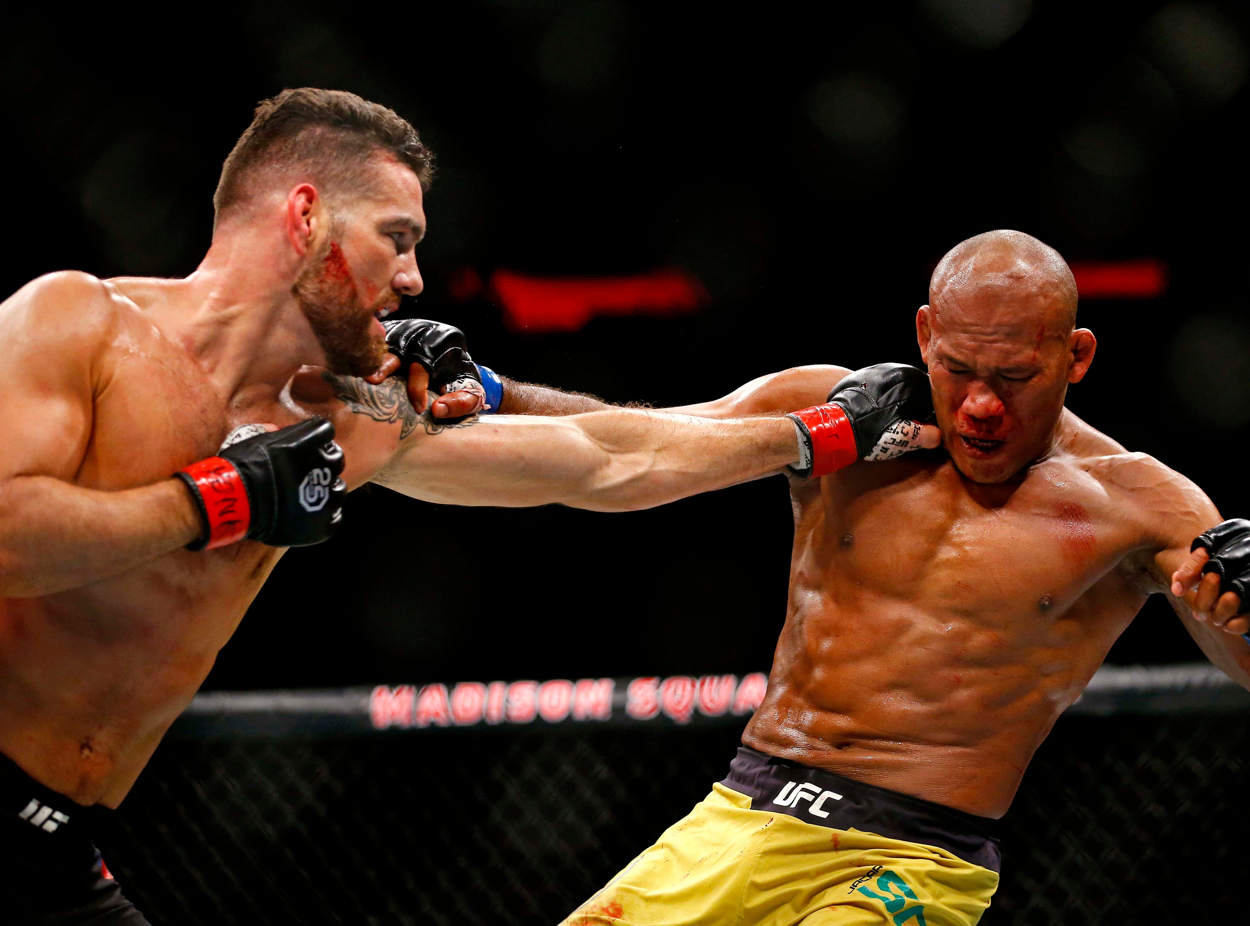 Chris Weidman (red gloves) fights Ronaldo Souza (blue gloves) during UFC 230 at Madison Square Garden.