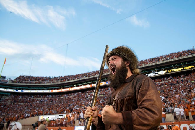 Week 10: The West Virginia Mountaineers mascot celebrates after the win against the Texas Longhorns at Darrell K Royal-Texas Memorial Stadium.