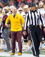 Minnesota Golden Gophers head coach P.J. Fleck during the third quarter against Illinois.