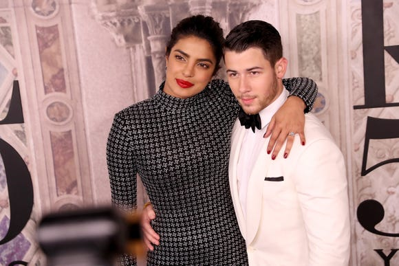 Priyanka Chopra and Nick Jonas attend the Ralph Lauren fashion show during New York Fashion Week at Bethesda Terrace on September 7, 2018 in New York City.