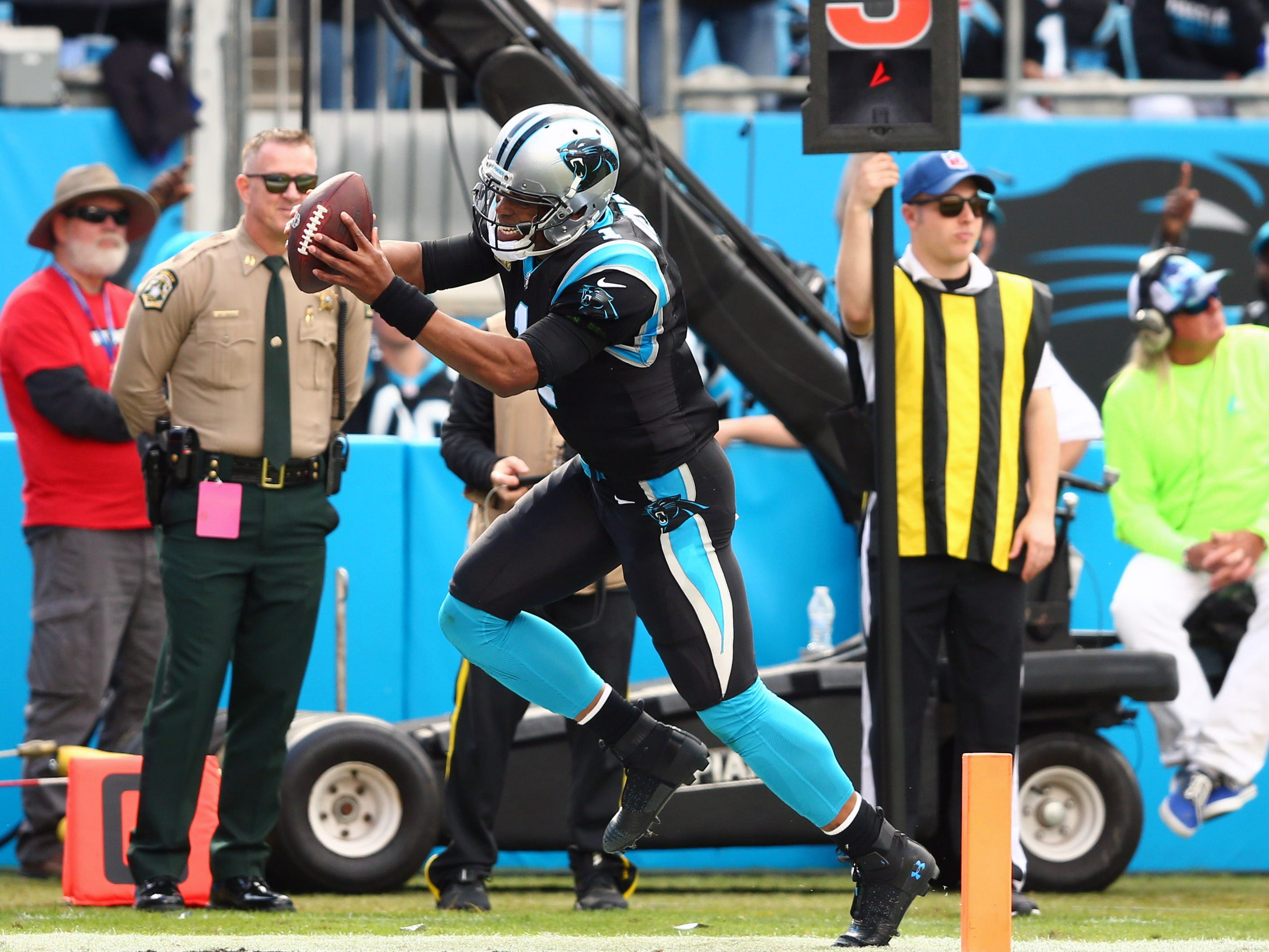 Carolina Panthers quarterback Cam Newton (1) celebrates a touchdown in the second quarter against the Tampa Bay Buccaneers at Bank of America Stadium.