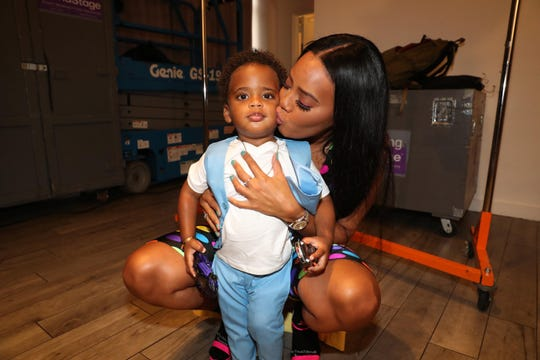 Angela Simmons poses with her son Sutton Joseph Tennyson at the Bonnie Bouche By Angela Simmons - Style360 - New York Fashion Week presentation on September 12, 2018.