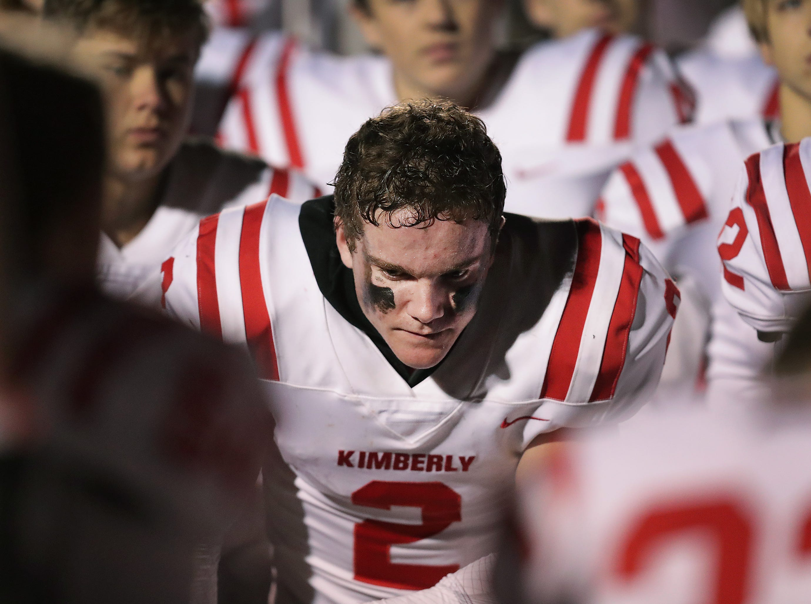 Kimberly High School's #2 Drew Lechnir against Bayport High School during their WIAA Division 1 state quarterfinal football game on Friday, November 1, 2018, in Green Bay, Wis.  Kimberly defeated Bayport 38 to 20.