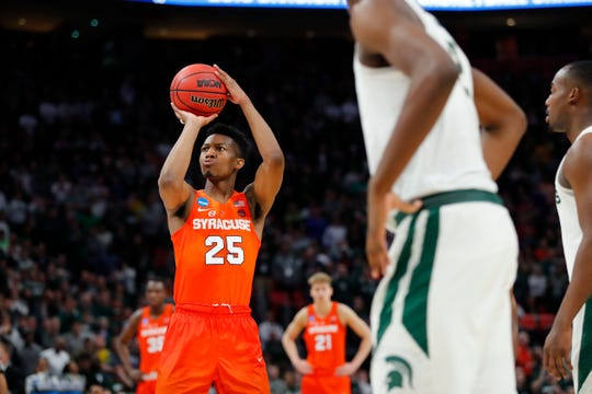 Tyus Battle (25) shoots a free throw in the second half against the Michigan State Spartans in the second round of the 2018 NCAA Tournament