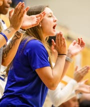 Victoria Cardaci supporting her Seton Hall teammates during her sit-out season