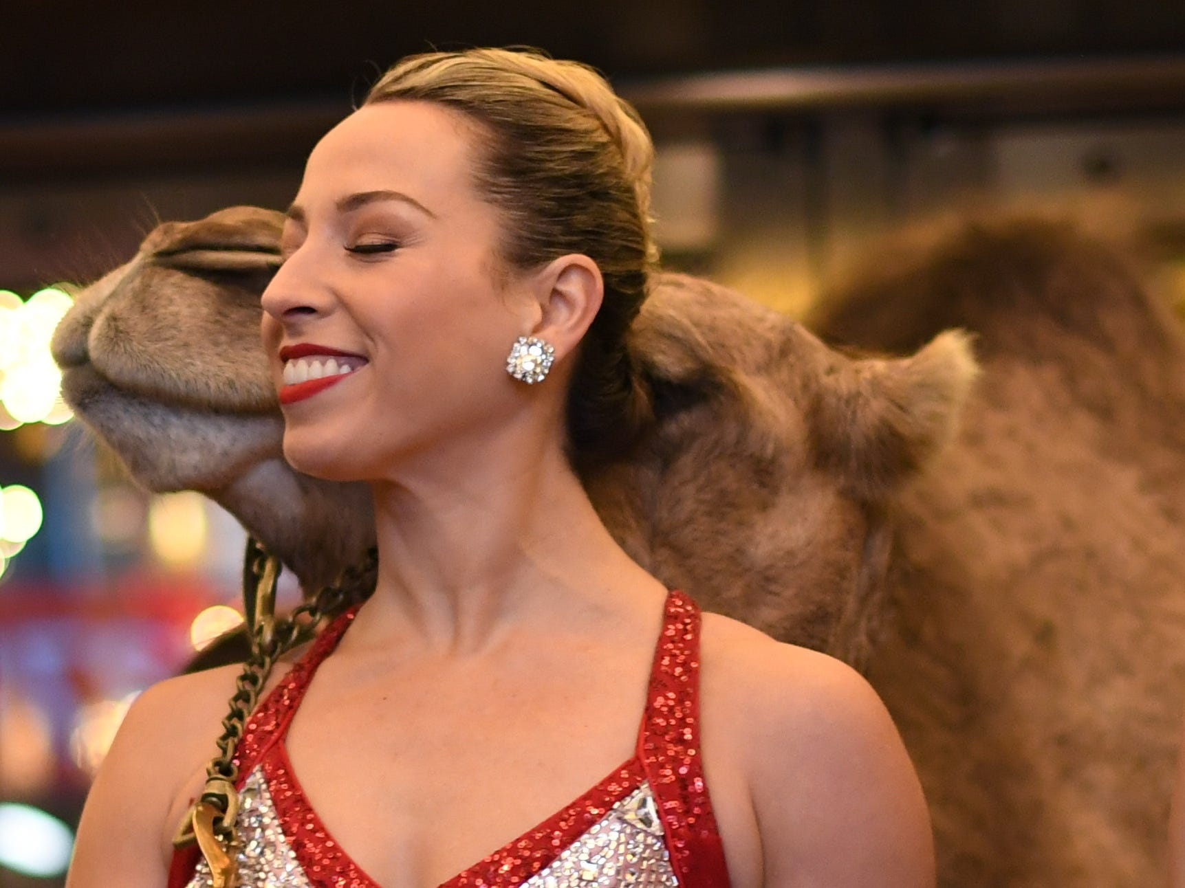 Radio City Rockette's  Lauren Gibbs poses with camels as the Radio City Rockettes  welcome the camels, sheep and donkey back to Radio City Music Hall November 5, 2018 for their starring role in the Living Nativity scene in the 2018 production of the Christmas Spectacular Starring the Radio City Rockettes. (Photo by TIMOTHY A. CLARY / AFP)TIMOTHY A. CLARY/AFP/Getty Images