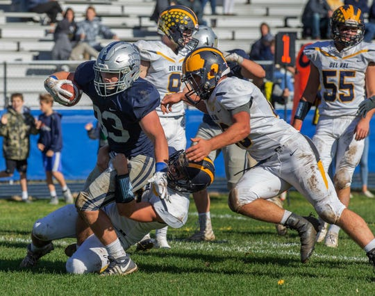 Manasquan running back Canyon Birch, shown running the ball against Delaware Valley in a NJSIAA Central Group II quarterfinal, is one of the nominees for Asbury Park Press Shore Conference Football Player of the Week.
