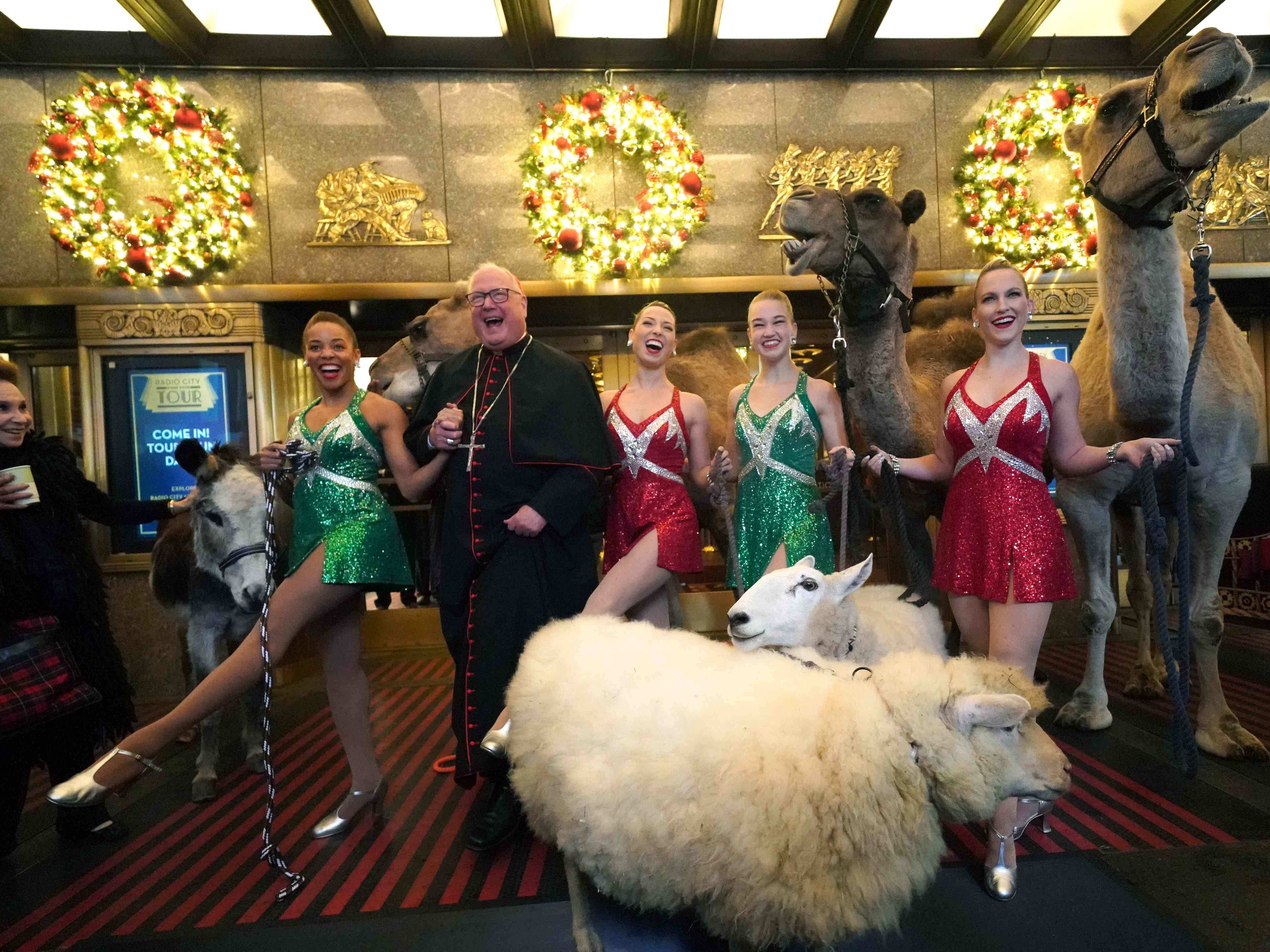 Radio City Rockette's Samantha Berger, Lauren Gibbs, Kathleen Laituri and Samantha Harvey along with Eminence Timothy Cardinal Dolan welcome camels, sheep and donkey back to Radio City Music Hall November 5, 2018 in New York for their starring role in the Living Nativity scene of the 2018 production of the Christmas Spectacular. - The Christmas Spectacular starring the Radio City Rockettes, presented by Chase, will run from November 9  January 1, 2019. (Photo by TIMOTHY A. CLARY / AFP)TIMOTHY A. CLARY/AFP/Getty Images