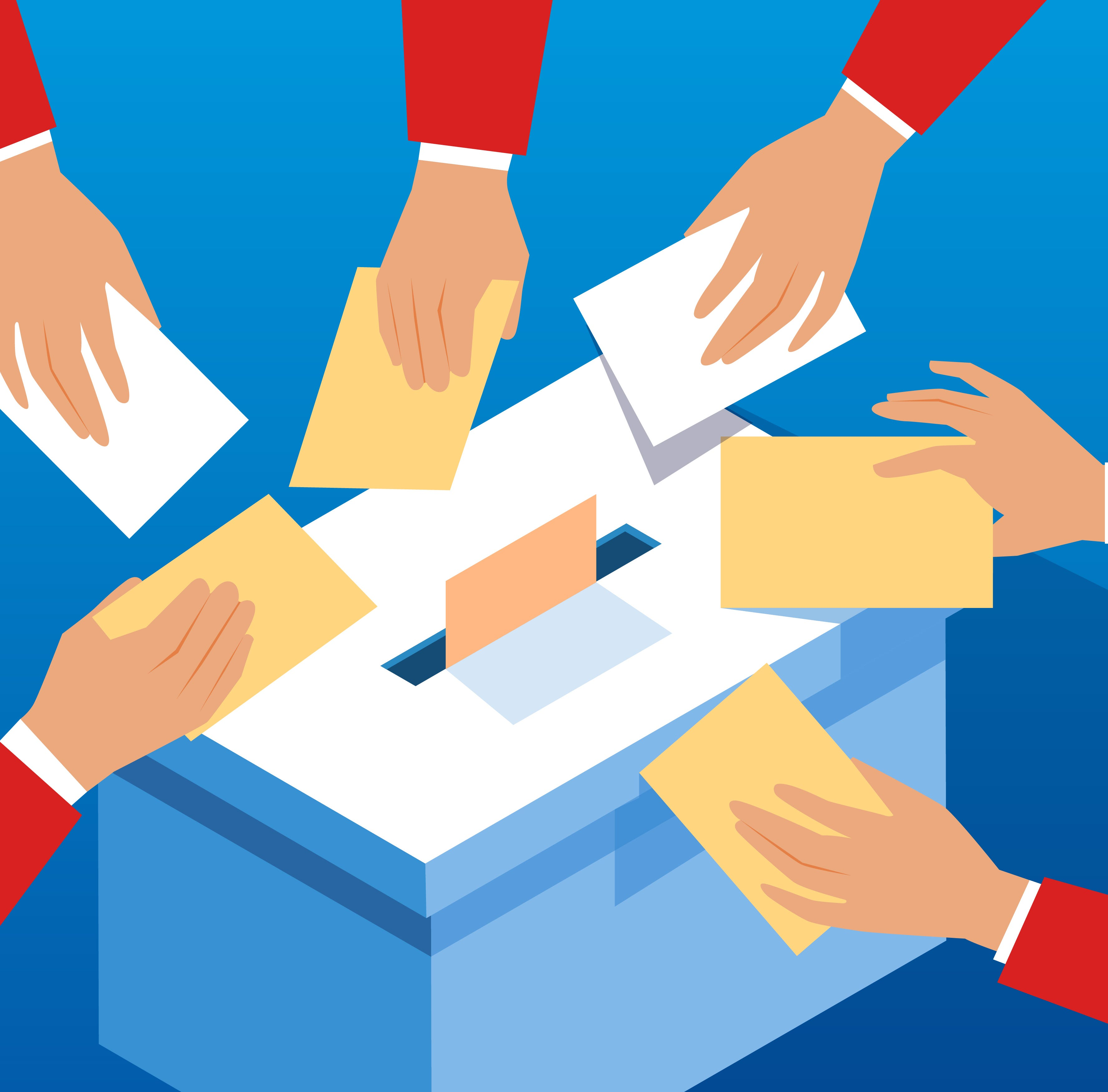 Voting hands and ballot box