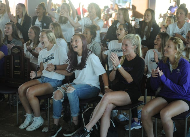 ACU players react when they find out they'll be playing No. 9 Baylor in the first round of the NCAA women's soccer tournament later this week in Waco. The  team watched the selection show during a party Monday on the Club Level at Wildcat Stadium. It's ACU's first Division I tournament berth in program history.