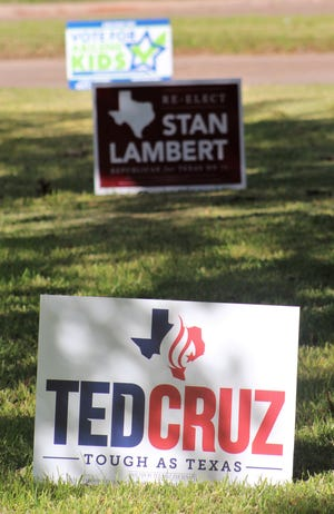 A cluster of Abilene yard signs support Republican candidates and the Abilene ISD bond.