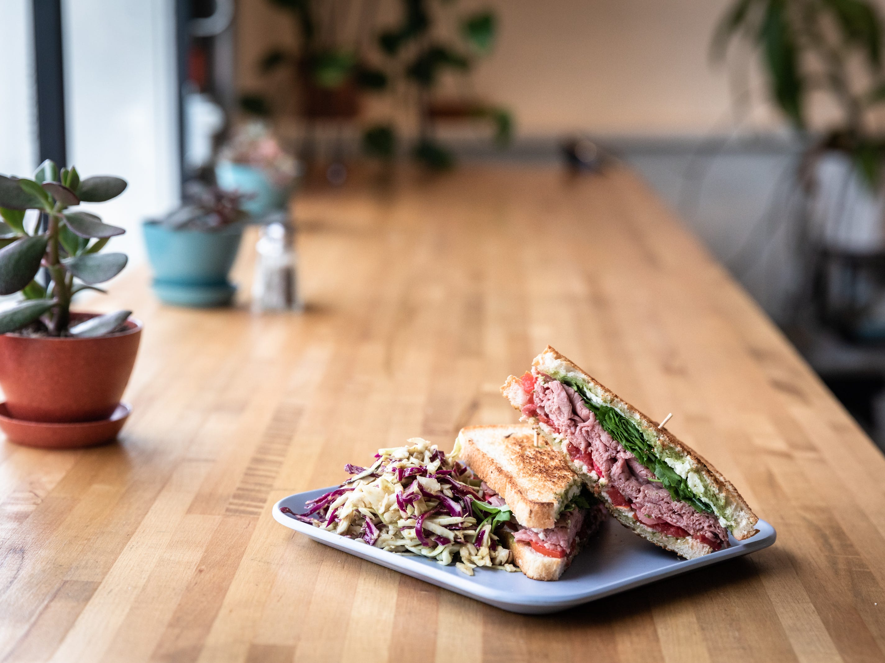 Simple Cafe & Juice Bar's roast beef and chimichuri sandwich.