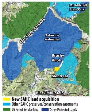 """The Southern Appalachian Highlands Conservancy recently protected 123 acres on Brushy Knob, one of the """"Seven Sisters"""" mountain peaks in Black Mountain."""
