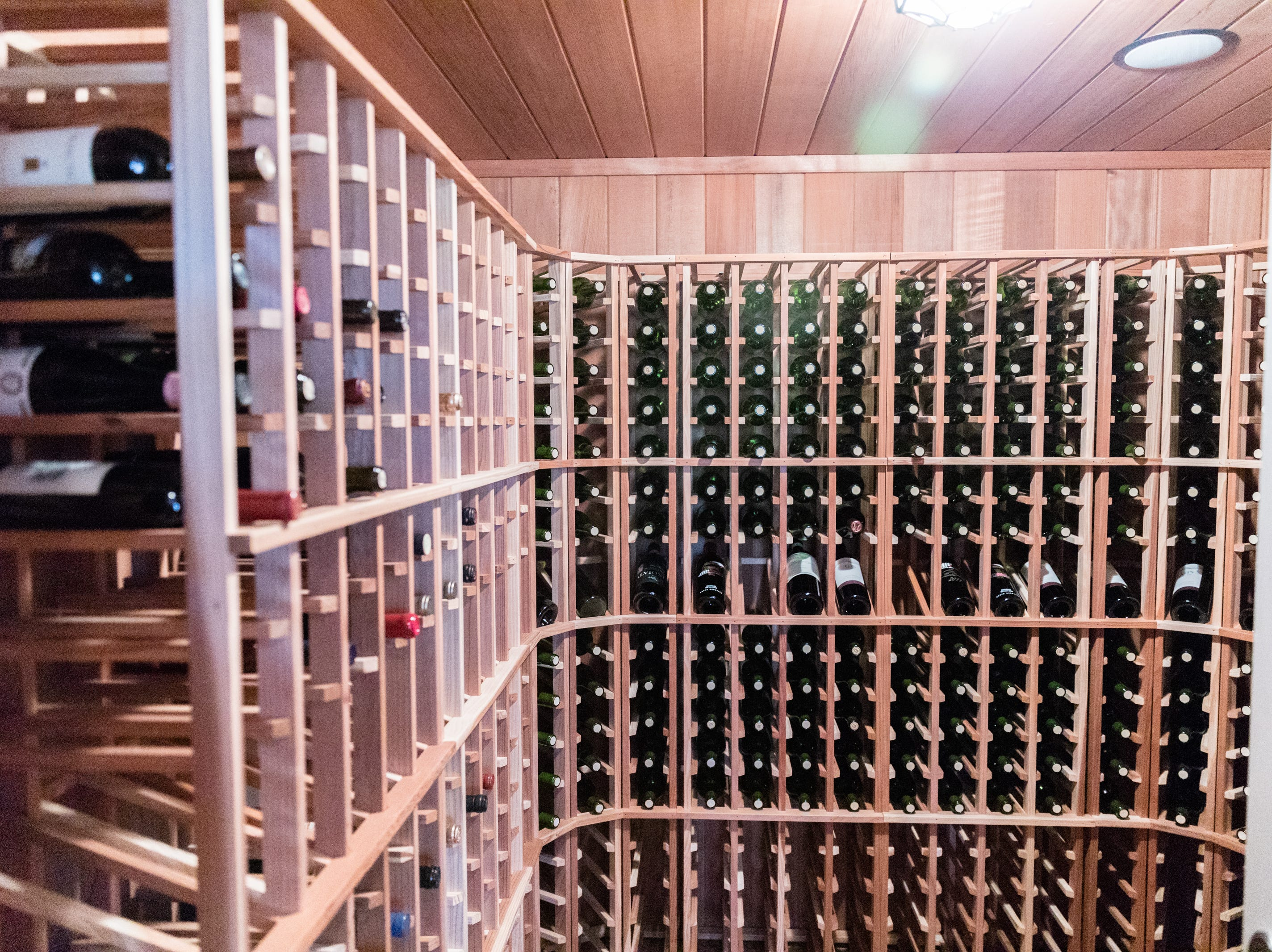 The wine cellar at David Dudick's country estate, complete with guest house in Fletcher.