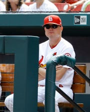 St. Louis Cardinals manager Mike Shildt watches from the bench during a baseball game against the Pittsburgh Pirates Wednesday, Sept. 12, 2018, in St. Louis. (AP Photo/Billy Hurst)