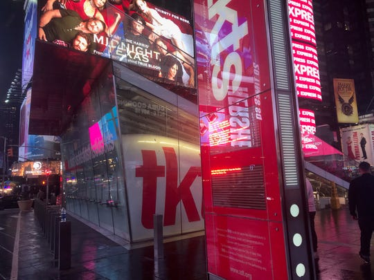 The TKTS Discount Ticket booth's flagship location is beneath the red steps in Times Square.