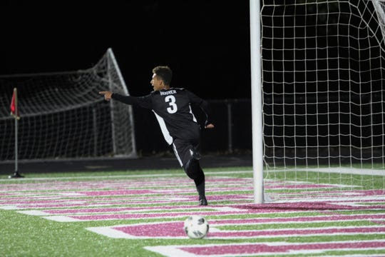Owen senior Lorenz Hoover celebrates after scoring a goal against Foard High School in a 2-1 Warhorse victory in the opening round of the state playoffs on Nov. 3.