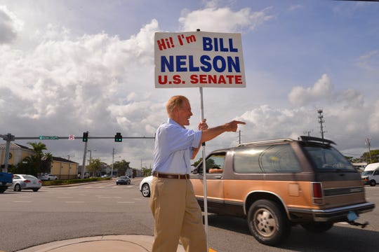 Sen. Nelson was out on his favorite corner to campaign Monday afternoon. He was at the intersection of US 1 and Eau Gallie Blvd, waving at cars.