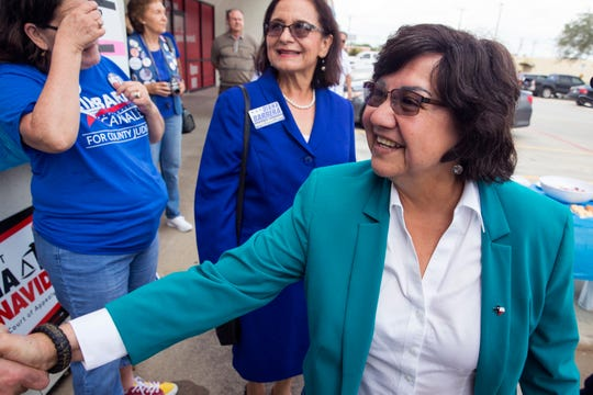 Democratic candidate for governor Lupe Valdez arrives at a rally outside the Nueces County Democratic Party Headquarters in Corpus Christi, TX on Monday, November 5, 2018, just one day ahead of Election Day. Several other democratic candidates spoke at the rally.