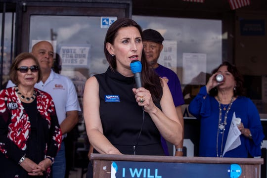 Democratic candidate for Nueces County Judge Barbara Canales speaks to supporters outside the Nueces County Democratic Party Headquarters in Corpus Christi, TX on Monday, November 5, 2018, just one day ahead of Election Day. Several other democratic candidates spoke at the rally.