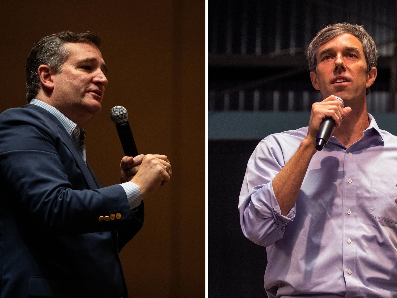 U.S. Senator Ted Cruz (left) and U.S. Rep. Beto O'Rourke (right) are running for the Texas U.S. Senate seat currently held by Cruz.