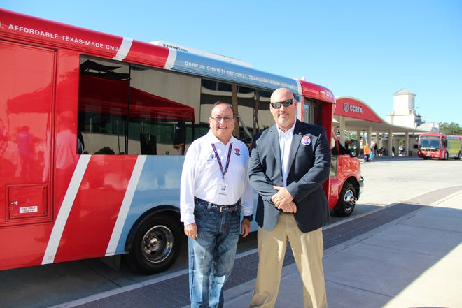 Corpus Christi RTA CEO Jorge Cruz-Aedo (left) with CCRTA's  Board Vice Chairman Mike Reeves. RTA will offer free rides on Election Day.