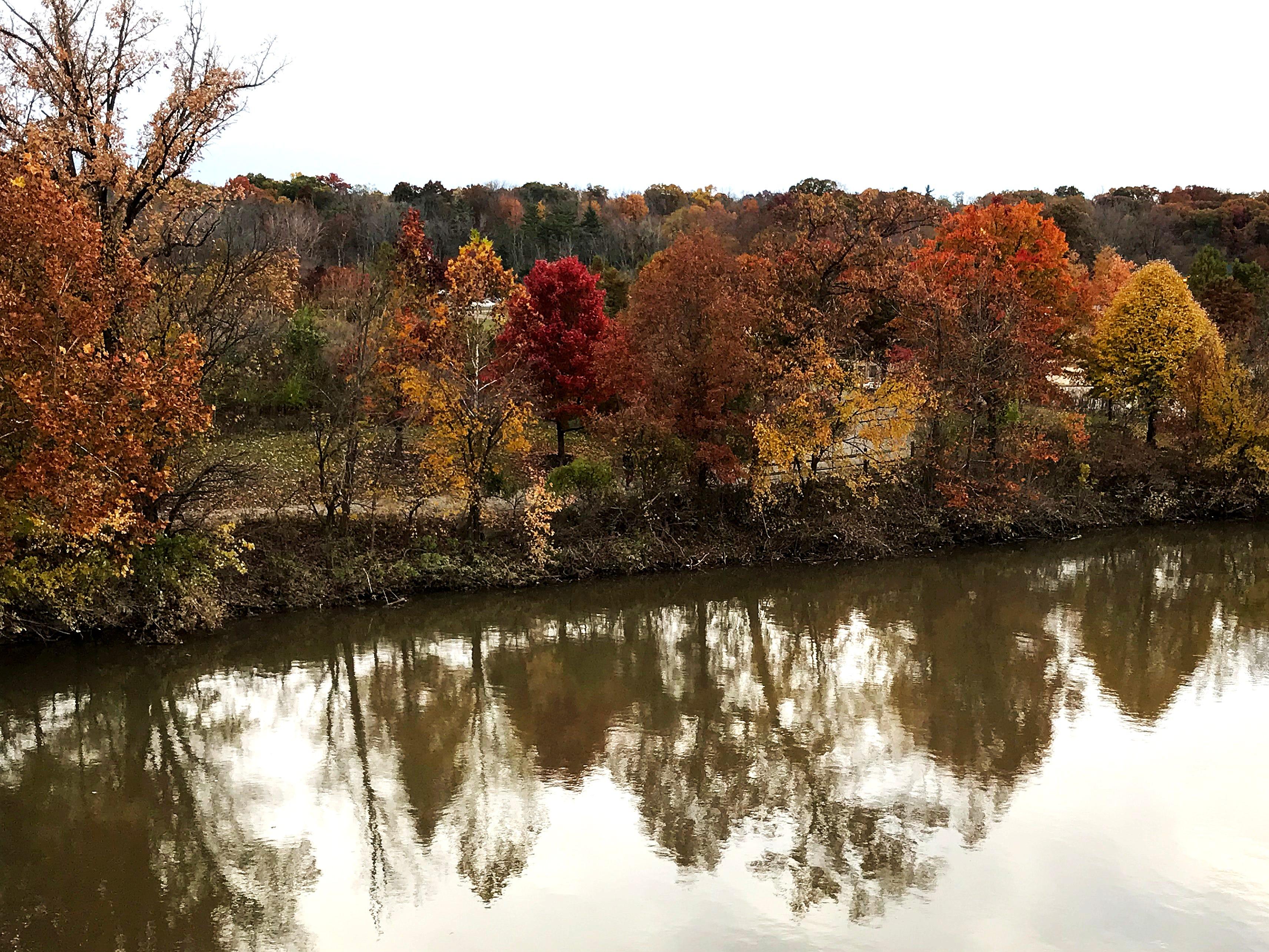 Fall colors reflect on Winton Lake at Winton Woods Park Sunday, November 4, 2018.