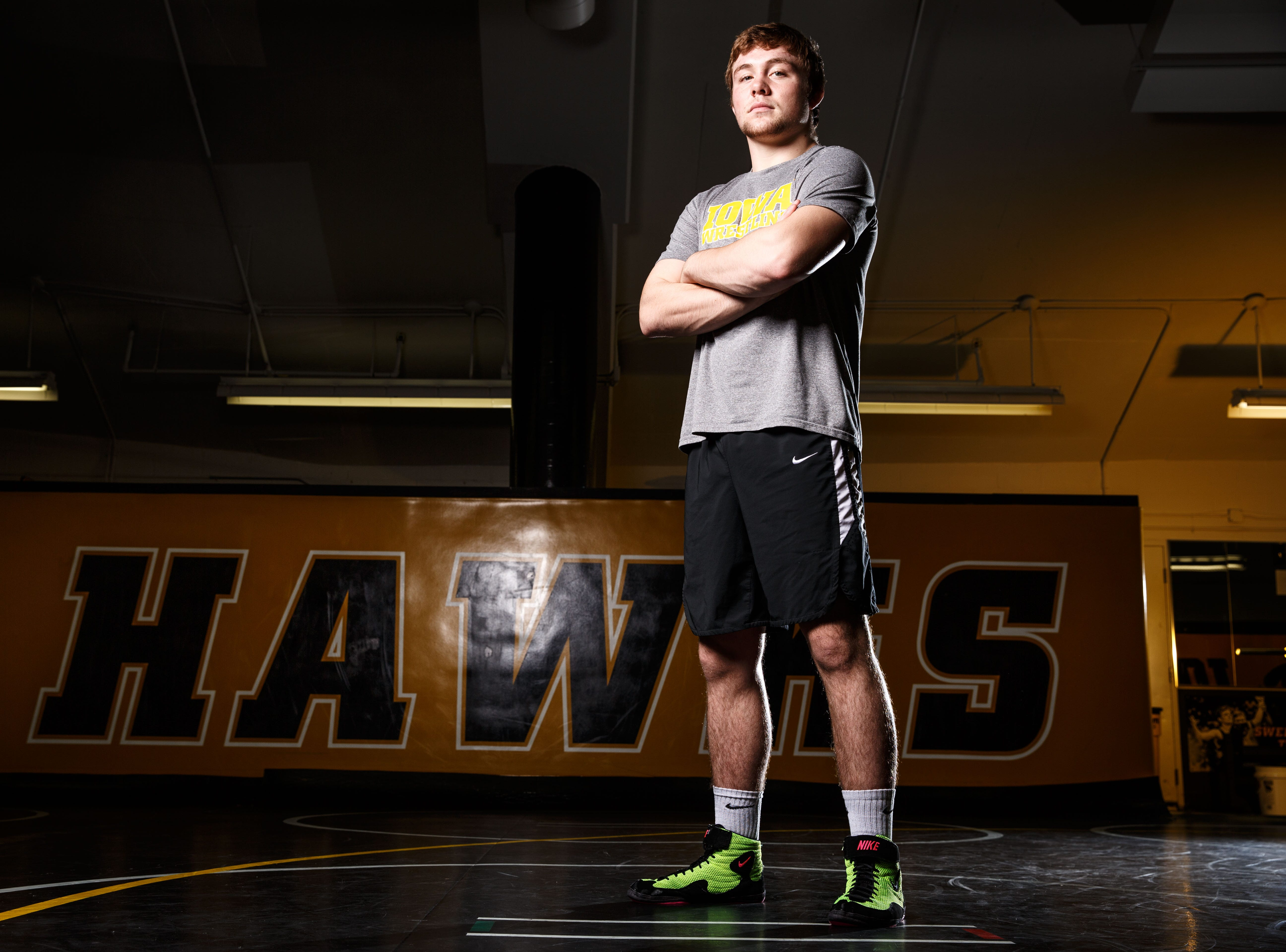 Jacob Warner stands for a portrait during Iowa wrestling media day Monday, Nov. 5, 2018.