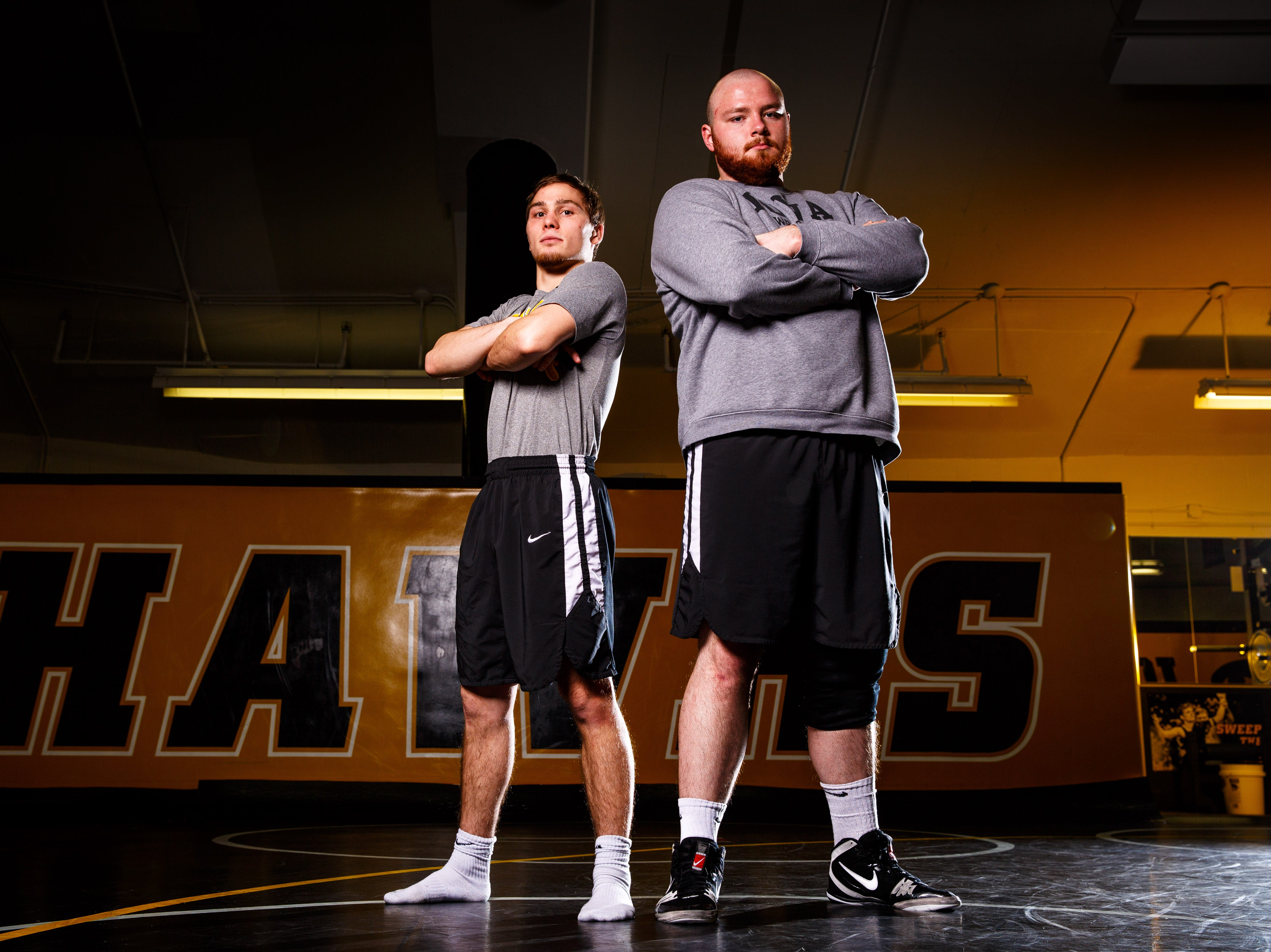 Iowa wrestlers  Spencer Lee and Sam Stoll stand for a portrait during Iowa wrestling media day Monday, Nov. 5, 2018.