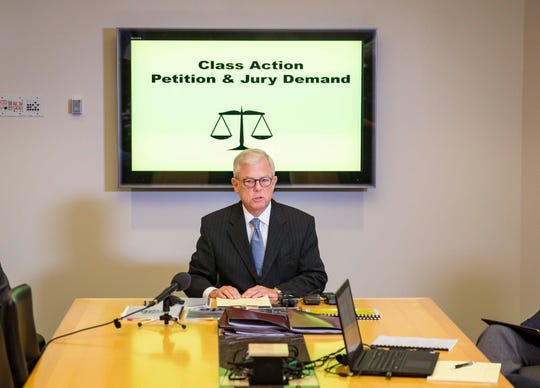 Guy Cook, a Des Moines attorney, during a news conference Monday, Nov. 5, 2018, at Grefe & Sidney, P.L.C. in Des Moines, Iowa.