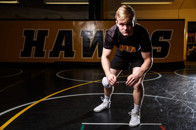 Nelson Brands stands for a portrait during Iowa wrestling media day Monday, Nov. 5, 2018.
