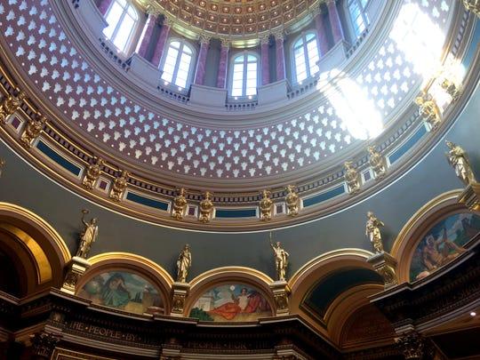 The interior of the dome at the Iowa Capitol in Des Moines.