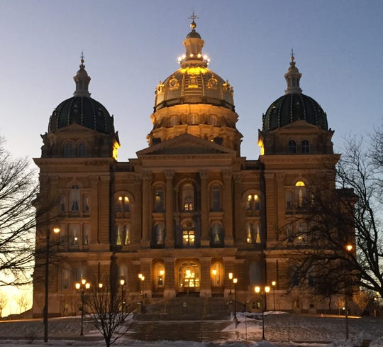 The north side of the Iowa Capitol in Des Moines on winter morning while the Iowa Legislature was in session.