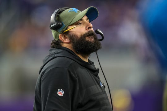 Detroit Lions head coach Matt Patricia looks on during the third quarter against the Minnesota Vikings at U.S. Bank Stadium, Nov. 4, 2018 in Minneapolis.