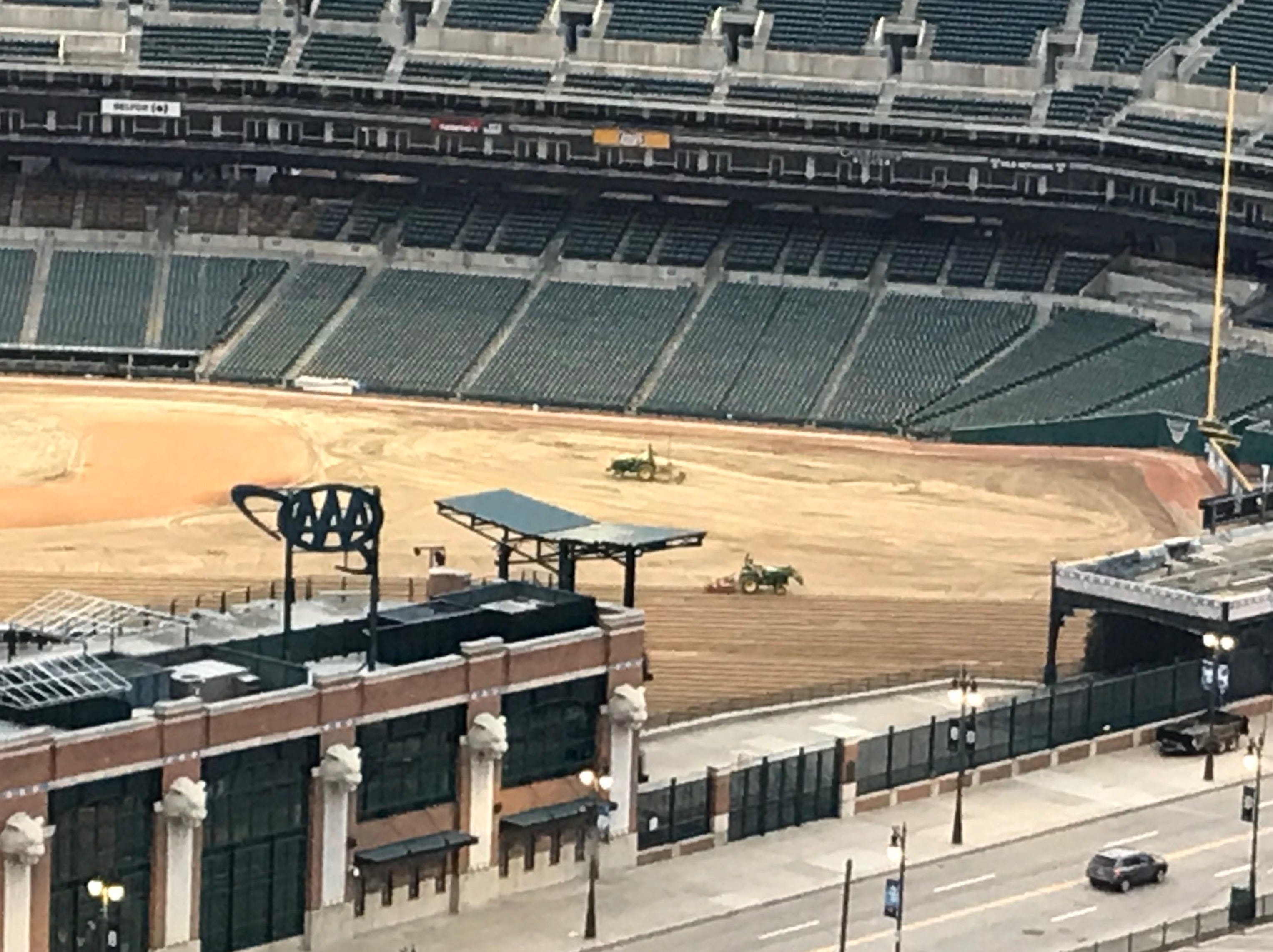 A look at at Comerica Park with the grass stripped off the field on Oct. 23, 2018.