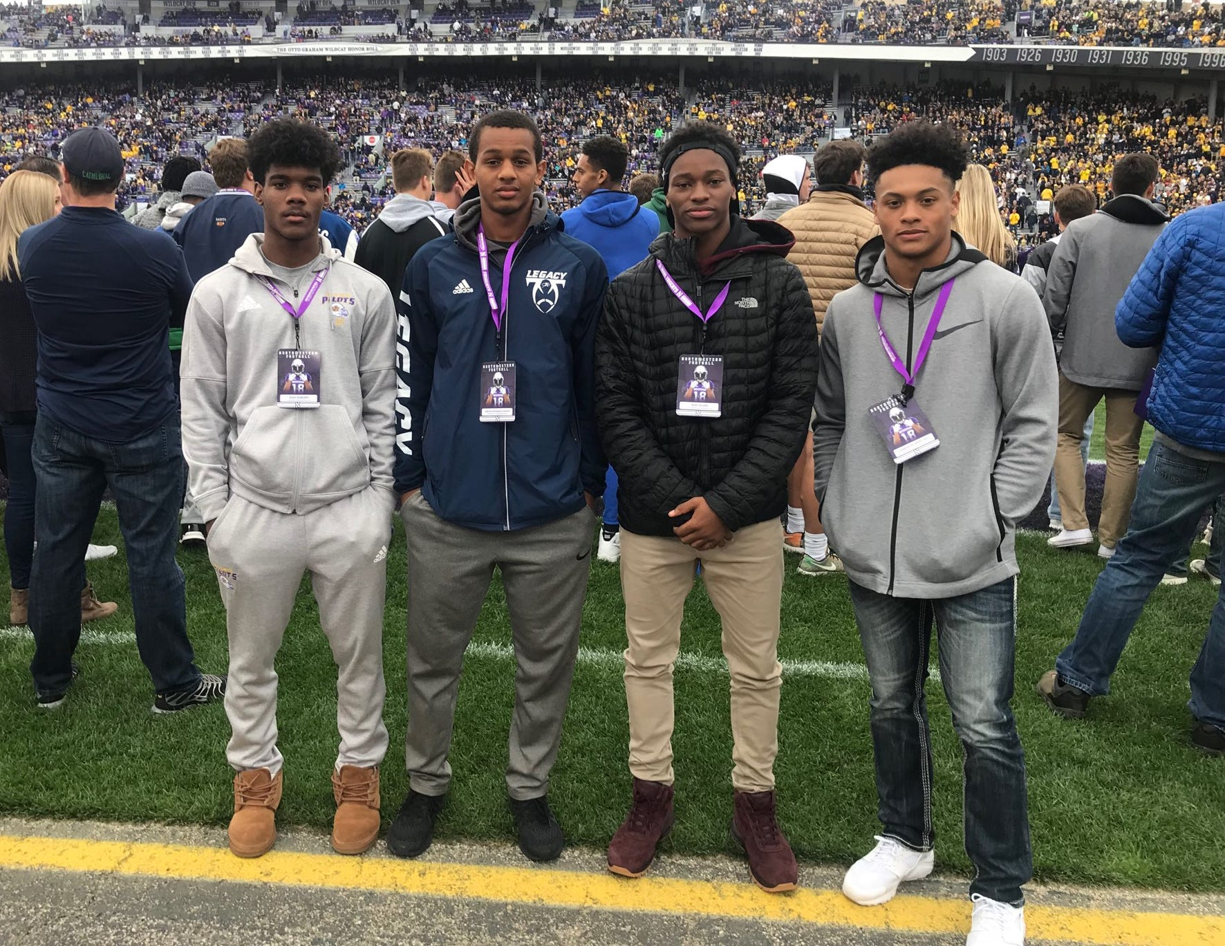Muskegon's Cameron Martinez, right, is joined at the Michigan-Northwestern game by (from left) Warren De La Salle's Josh DeBerry, Walled Lake Western's Abdur-Rahmaan Yaseen and Farmington Hills Harrison's Rod Heard.
