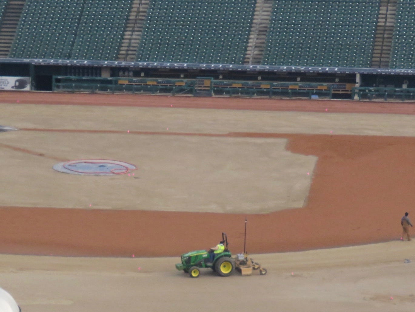 A look at Comerica Park as crews work to replace the grass in late October, 2018.