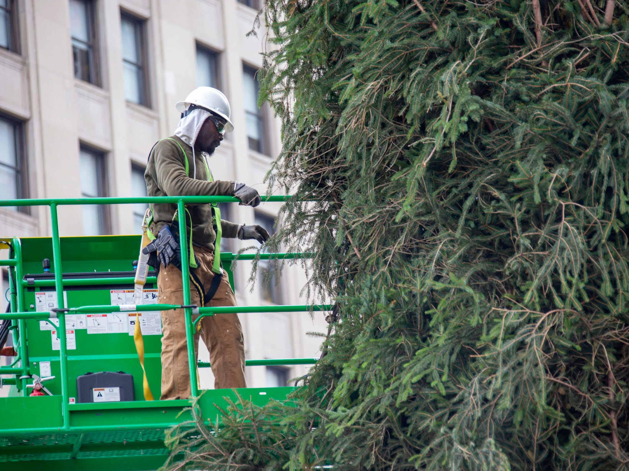 Workers take on a 60-foot-tall Norway spruce as they place it in Campus Martius Monday, Nov. 5, 2018.