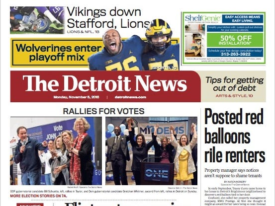 The front page of The Detroit News on Monday, November 5, 2018